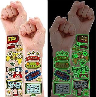 Partywind Luminous Video Game Game Party Supplies موقت خالکوبی برای کودکان ، 158 سبک Glow Gamer Gaming تزئینات تولد برای پسران به نفع مهمانی ، هدیه برچسب تاتو جعلی برای بازیگران