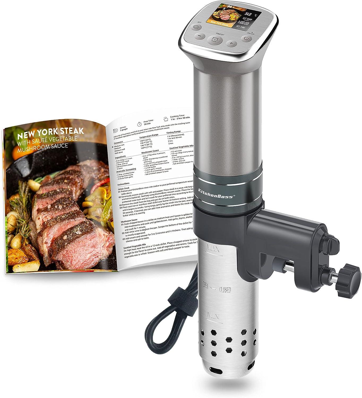 KitchenBoss-Sous-Vide Roner Cocina Baja Temperatura: Roner Precisión |1100w |230V |Color LCD |IPX7 Impermeable |Motor CC sin Escobillas |Máquina de Cocción con 15 Recetas Integradas, G321