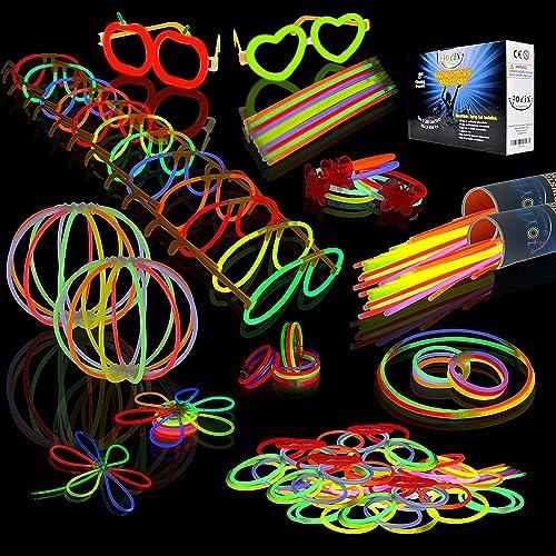 "JOYIN 200 Glow Sticks Party Pack 8"" Glowsticks (Total 456 PCs 7 Colors); Bracelets Glow Necklaces Glow-in-The-Dark Li..."