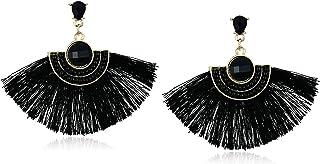 Women's Bead & Stone Drop Fan Earrings, Black, One Size