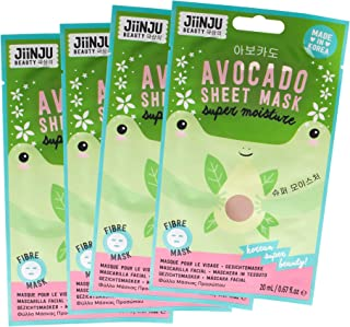 Jiinju Beauty Korean Super Moisture Avocado Sheet Mask, Pack of 4