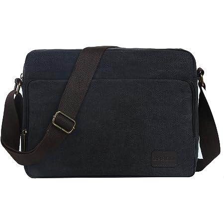 Eshow Messenger Bag Umhängetasche Herren Damen für 14 Zoll Laptop klein Leinwand Canvas Vintage Retro mit Handyfach zum Arbeit Freizeit