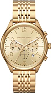 Michael Kors Men's Merrick Quartz Watch with Stainless-Steel-Plated Strap, Gold, 20 (Model: MK8638)