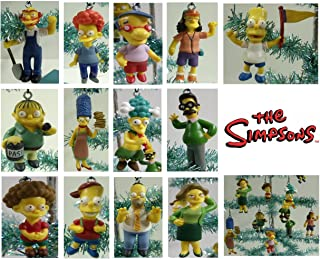 Set of 14 The Simpsons Christmas Tree Ornaments Featuring Homer Simpson, Marge Simpson, Bart Simpson, Ned Flanders, Rod Flanders, Todd Flanders, Gounds Keeper Willie, Milhouse Van Houten, Ralph Wiggum, Otto, Sideshow Mel and Other Simpson Character Ornaments