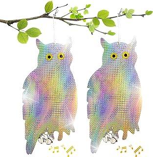 LOVEXIU Búho Espantapajaros 2 Pcs,Búho Repelente de Aves,Reflectantes Repelentes de Pájaros Búho,Disuadir Búhos Pájaros,Re...