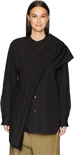 Z-Shoulder Woven Drape Blouse