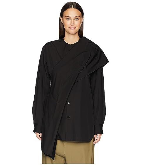 Y's by Yohji Yamamoto Z-Shoulder Woven Drape Blouse