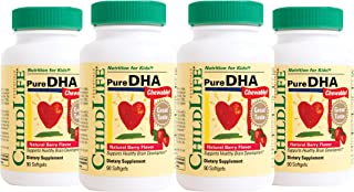 ChildLife Essentials - Pure DHA Soft Gel Capsules for Infants, Babys, Kids, Toddlers, Children, and Teens - 4 Pack of 90 C...