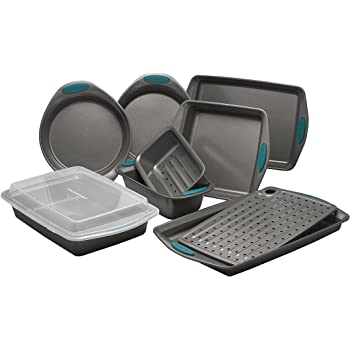 Rachael Ray Nonstick Bakeware Set with Grips includes Nonstick Bread Pan, Baking Pans, Cookie Sheet, Baking Sheet and Cake Pans - 10 Piece, Gray with marine blue grips