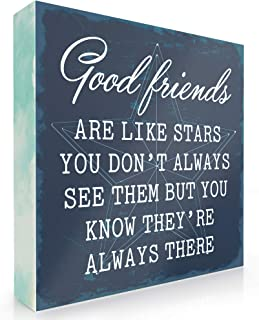 Barnyard Designs Good Friends are Like Stars Box Wall Art Sign, Primitive Country Farmhouse Home Decor Sign with Sayings 6...