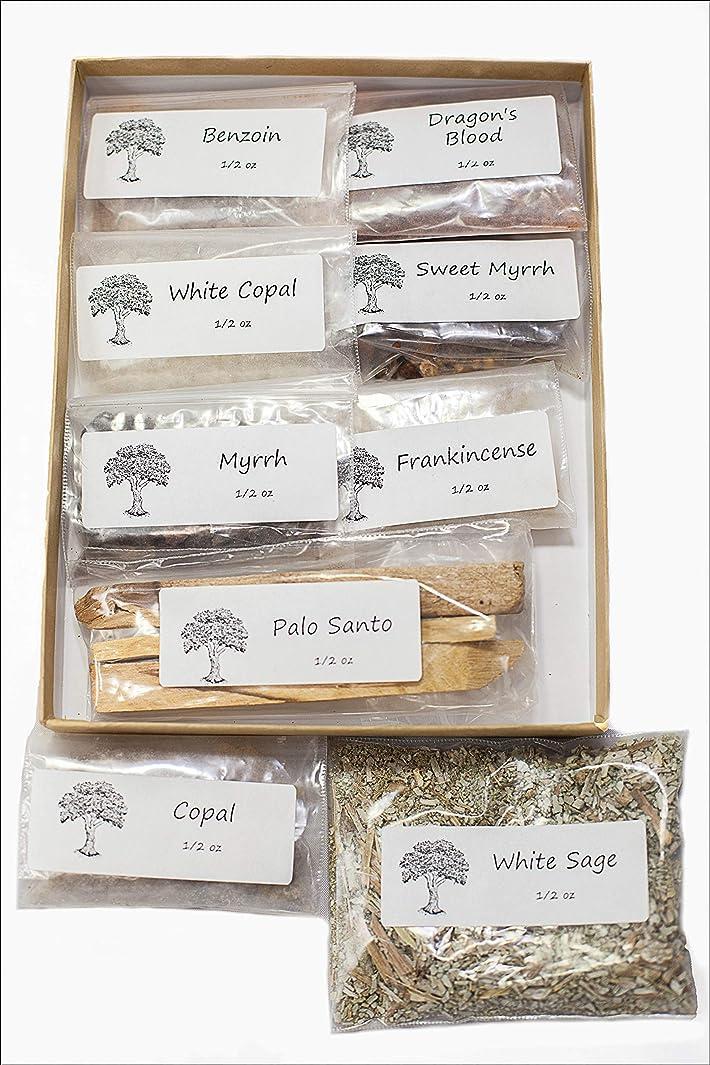 クリーム焦がす順応性聖なる香り 樹脂製お香 バラエティサンプラーパック 1/2オンス 乳香 ミルラースウィートミルラ コーパル ホワイト Copal-Benzoin-Dragon's Blood-Ground ルーズリーフ ホワイトセージ