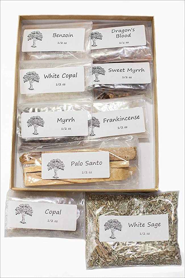 感謝祭収入フライト聖なる香り 樹脂製お香 バラエティサンプラーパック 1/2オンス 乳香 ミルラースウィートミルラ コーパル ホワイト Copal-Benzoin-Dragon's Blood-Ground ルーズリーフ ホワイトセージ