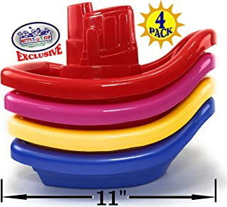 """Matty's Toy Stop Plastic Nesting/Stacking Tug Boats (11"""") Red, Blue, Pink & Yellow Gift Set Bundle, Perfect for Bath, Poo..."""