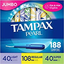 Sponsored Ad - Tampax Pearl Plastic Tampons, Light/Regular/Super Absorbency Multipack, 188 Count, Unscented (47 Count, Pac...