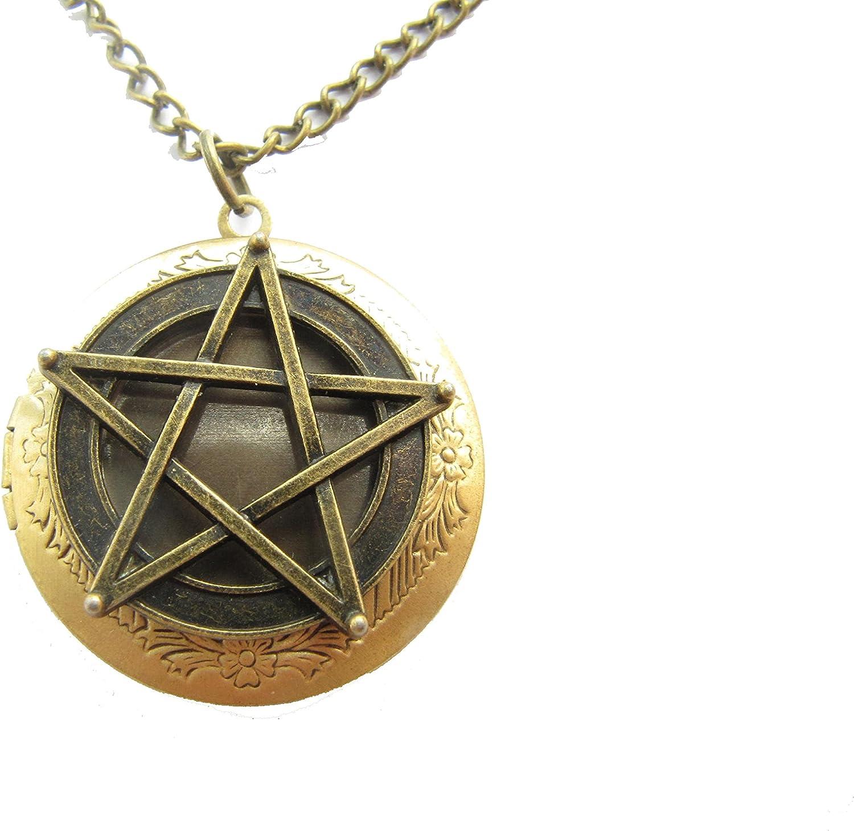 Ancient Bronze Pentagram Locket Necklace,Pentagram Locket Necklace