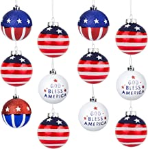 """12pcs Patriotic Ball Ornaments, BS 3.15"""" Large Christmas Tree Balls Hanging Independence Day Party Decor Christmas Ornamen..."""