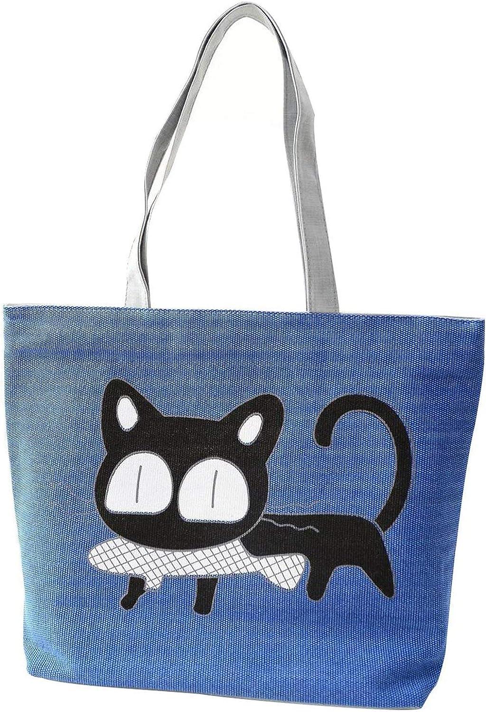 Bloomerang Special Cartoon Cat Fish Canvas Handbag Preppy School Bag for Girls Women's Handbags Shopping Bag Cute Shoulder Tote Handbags color blueee