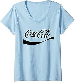 Womens Coca Cola,Coca Cola Coke Logo V-Neck T-Shirt