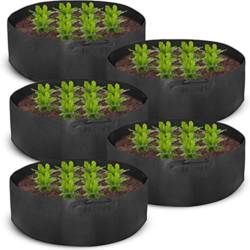 discount Mophorn outlet sale 5-Pack 400 Gallon Plant Grow Bag Aeration Fabric 2021 Pots with Handles Black Grow Bag Plant Container for Garden Planting Washable and Reusable online