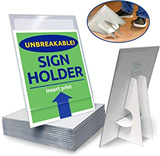 Paper Sign Holder (25 Pack) Plastic 8.5-x-11-inch Countertop Display w/Shatterproof (No Acrylic) Clear Cover w/Cardboard Easel Back Ship-Flat Portable Tabletop Sign Frames by Hutchco