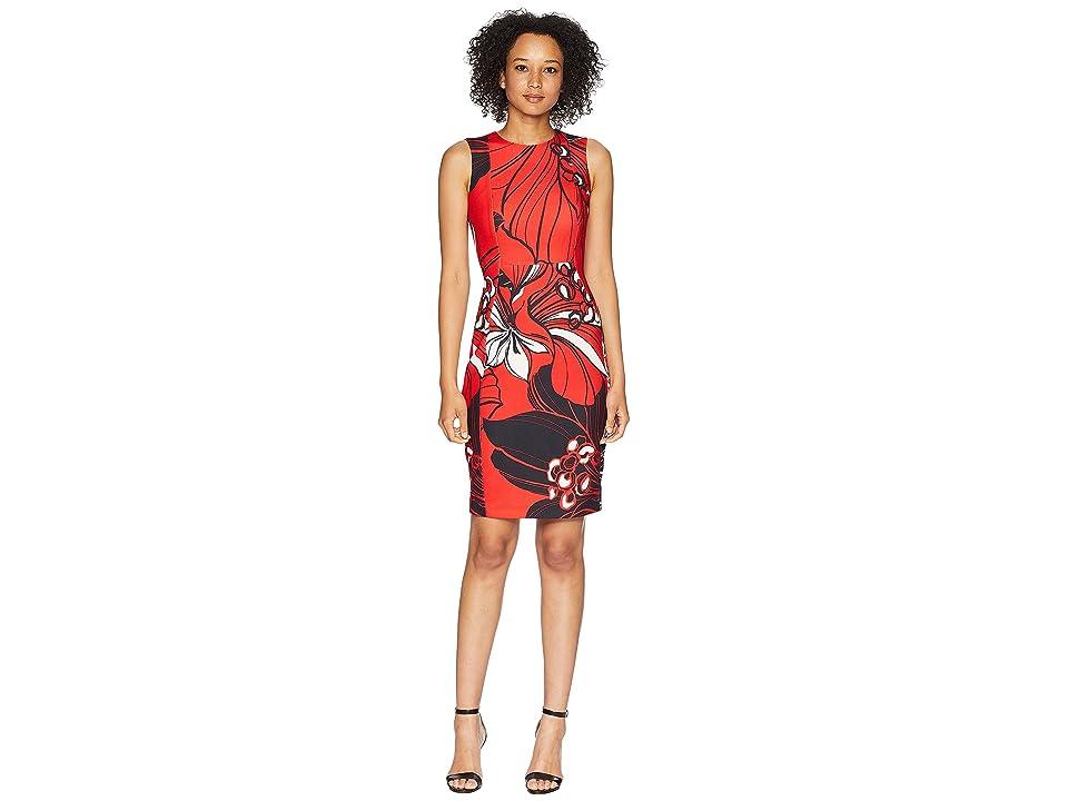 Calvin Klein Floral Print Sheath Dress CD8CKA00 (Fire Multi) Women
