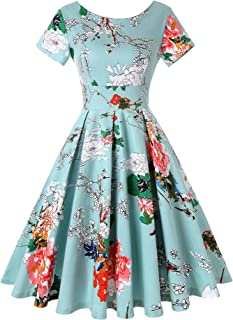 Womens 1950s Boat Neck 3/4 Sleeve Vintage Retro Floral Swing Party Dress
