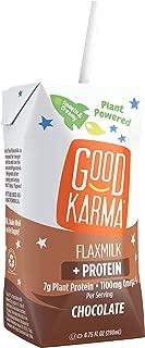 Good Karma Plant-Powered Flaxmilk, Chocolate, 6.75 oz Lunchbox Cartons (Pack of 12) Dairy-Free, Plant Based Milk Alternative
