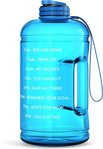 Motivational Water Bottle with Time Marker & Hourly Hydration Measurements – BPA Free & Non Toxic Large Sports Fitnes...