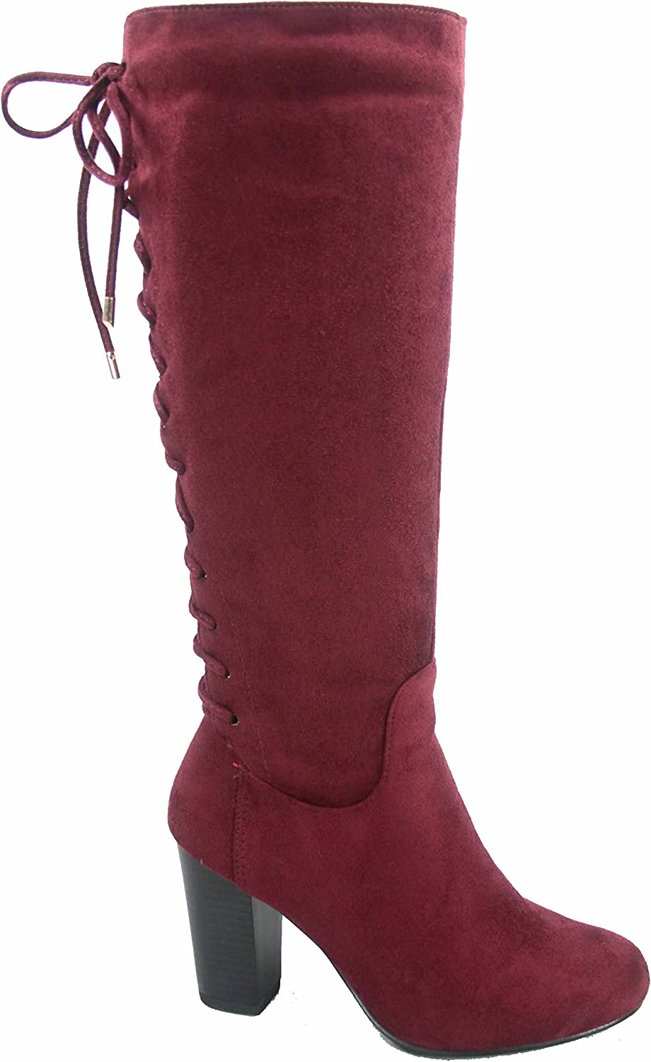 Top Moda Sophie-30 Women's Back Lace Up Chunky Heel Zipper Mid-Calf Boots shoes