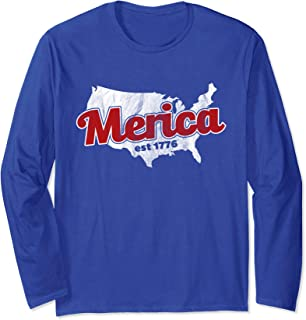 Funny Independence Merica Est 1776 Vintage Distressed Long Sleeve T-Shirt