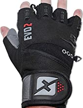 skott 2019 Evo 2 Weightlifting Gloves with Integrated Wrist Wrap Support-Double Stitching..