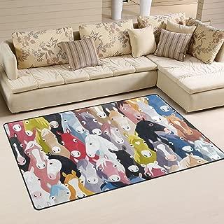 LORVIES Pony Pattern Colourful Cartoon Horses Area Rug Carpet Non-Slip Floor Mat Doormats for Living Room Bedroom 31 x 20 inches