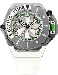 Mazzucato - Rim Scuba White Green, reloj automático doble reversible para hombre, con correa de goma FKM blanco con verde, K1- Gorilla Glass, resistencia al agua: 10 ATM, SUB07-WH802