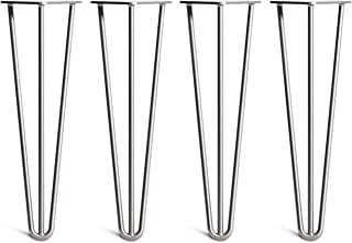 [HLC] 4 x Hairpin Table Legs – Superior Double Weld Steel Construction with Free Screws, Build Guide & Protector Feet, Worth $10! – 4