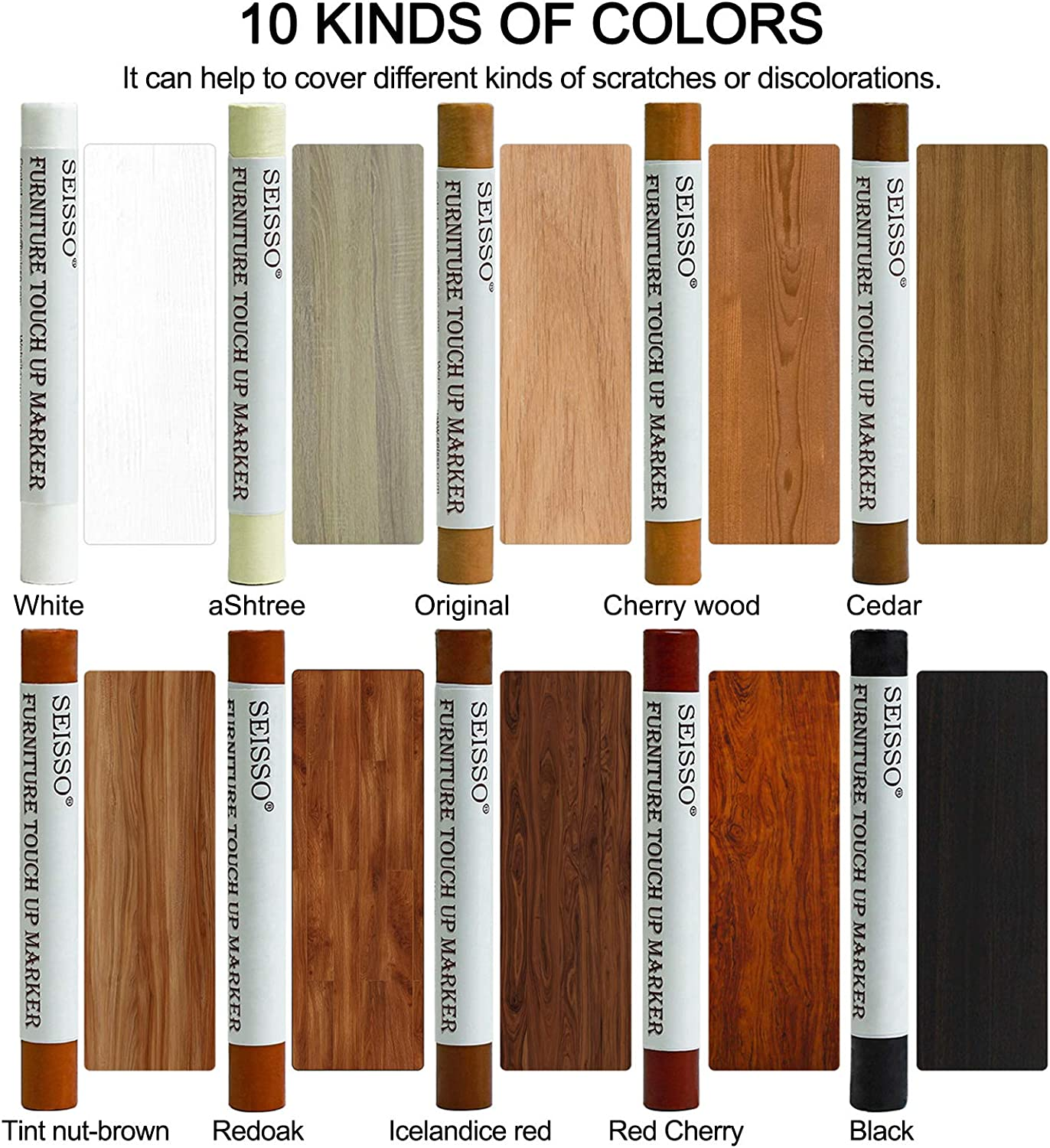 Wood Filler Sticks Touch Up Repair Kit Wood Furniture Scratches Restore Sticks and Markers for Hardwood Oak Wood Floors, Stains,