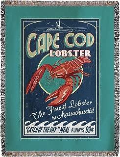 Cape Cod, Massachusetts - Lobster Vintage Sign 35467 (60x80 Woven Chenille Yarn Blanket)