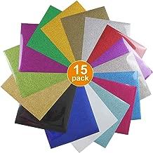 Glitter Heat Transfer Vinyl HTV for T-Shirts 12 Inches by 10 Feet Rolls (15 Pcs)