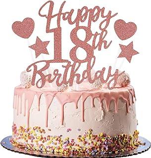 Rorchio Déco Gâteau 18 Ans Anniversaire Or Rose Happy Birthday Cake Toppers Rose Gold Patisserie Accessoire pour Décoratio...