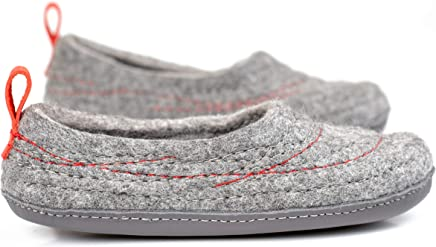343b457185e4 Warm Wool Slippers With Embroidered Surface and Red Pull Loop with BureBure  logo Handmade in Europe
