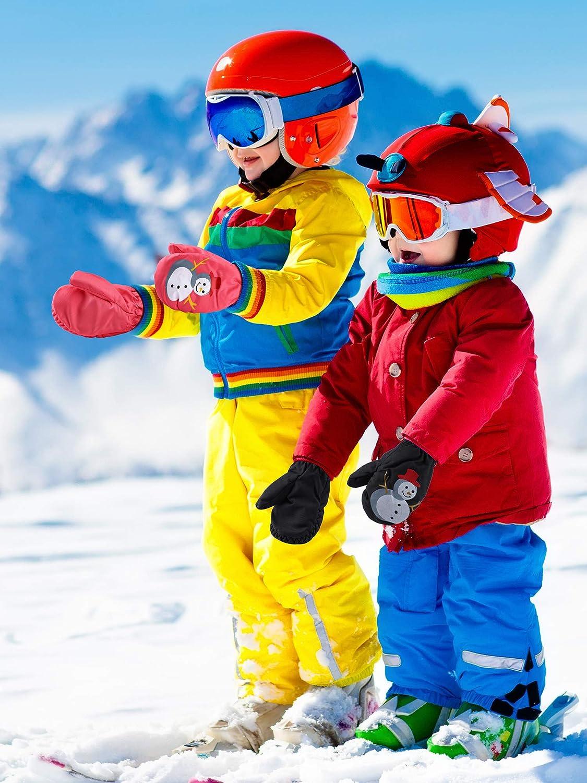 2 Pairs Kids Ski Mittens Gloves Waterproof Snow Mittens Winter Warm Gloves for Outdoor Activities