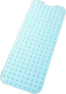 "tike smart Extra-Long Non-Slip Bathtub Mat 39""x16""(for Smooth/Non-Textured Tubs Only) Safe,Clean,Anti-Bacterial,Machine-Washable,Superior Grip&Drainage, Vinyl Bath Mat, Transparent Aqua/Blue-Green"