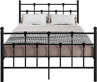 Panana 4FT6 svart metall sängram dubbel storlek säng med krombollar