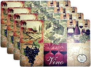 Set of 4 Fashion Placemats Durable Grapes & Wine Pattern Ease Care Wipe Clean Foam Backing Table Place Mat Set 12