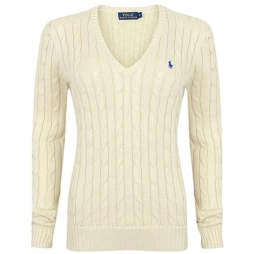 0e68e798cdc Ralph Lauren Women s V-Neck Cable Knit Cotton Jumper Various Colours XS - XL