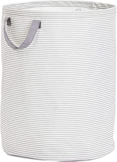 AmazonBasics Large Round Laundry Hamper Storage Basket with Handles, Striped