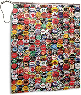 JDHWSC Beer Bottle Caps Polyester Shower Curtain 60 X 72 Inch Fabric Waterproof Mildew Shower Curtain with Full Iron Material Hook+Stainless Steel Hole Bathroom Decoration