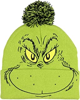 Dr. Seuss The Grinch Who Stole Christmas Pom Beanie Hat Embroidered Character,Green,One Size