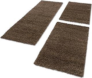 Bettumrandungen Hochflor Shaggy Wohnzimmer Schlafzimmer Läufer Langflor Teppiche 3 TLG, Farbe:Braun, BettSet:2 mal 60x110 + 1 mal 80x150