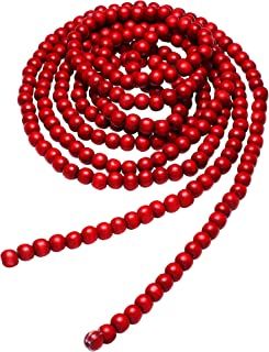 Hicarer Christmas Wooden Bead Garland Red Wood Bead Garland Christmas Tree Decorations for Christmas Holiday Favors, 12 ft