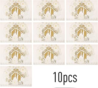 Goolfly 10pcs Hollow Out Bride and Groom Invitation Cards Greeting Card Kits Invitation Holders for Wedding Anniversary